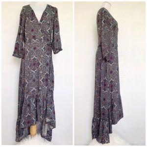 Love Stitch Boho Gray Floral Bohemian Maxi Dress